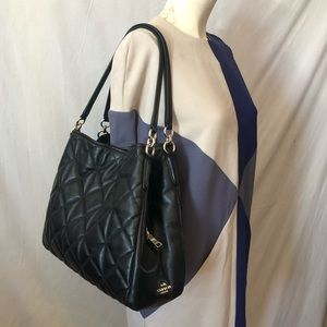 Auth Coach Phoebe black quilted leather bag